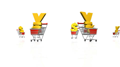 Currency Racing With Shopping Trolley stock footage