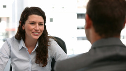 Appointment between a businesswoman and a businessman Stock Video Footage