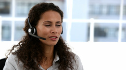 Business customer services operator woman smiling Footage