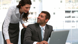 Businesspeople working on a computer Footage