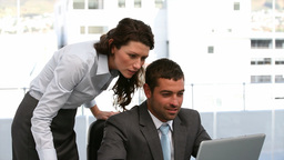 Businesspeople working on a computer Stock Video Footage