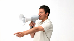 Man shouting into a megaphone Footage