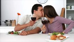 Couple have romantic dinner Footage
