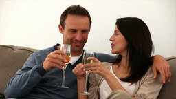 Couple toasting with white wine Footage