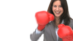 Businesswoman with boxing gloves Footage