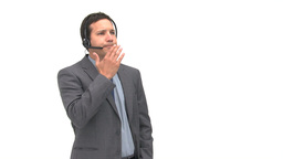 Charismatic businessman explaining something Stock Video Footage
