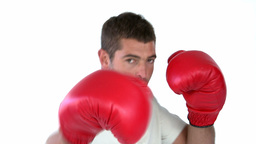 Charismatic man with boxing gloves Stock Video Footage