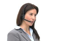 Businesswoman talking on a headset Footage