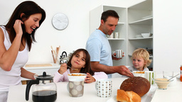 Family taking breakfast together Footage