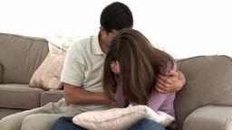 Man comforting his sad wife Footage