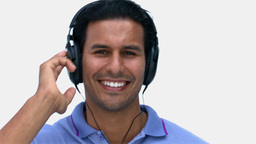 Man listening to music Stock Video Footage