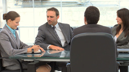 Business people talking during a meeting Footage
