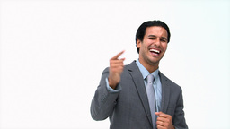 Joyful businessman in front of the camera Stock Video Footage