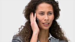Joyful businesswoman talking on the phone Stock Video Footage