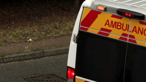 Close up of Ambulance sign as ambulance drive away Footage