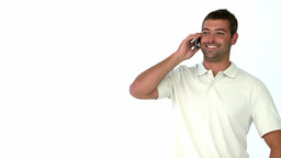 Happy man talking on the phone Footage