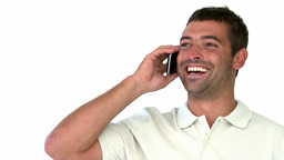 Man laughing on the phone Stock Video Footage