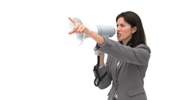 Businesswoman shouting through megaphone and point Stock Video Footage