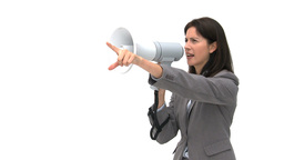 Businesswoman shouting through megaphone and point Footage