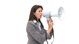Beautiful businesswoman shouting through megaphone Footage