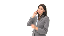 Laughing businesswoman talking on the phone Stock Video Footage