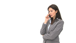 Laughing businesswoman talking on the phone Footage