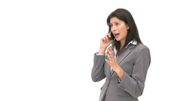 Annoyed businesswoman talking on the phone Footage