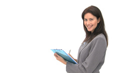 Smiling businessman writting on her notebook Stock Video Footage