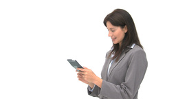 Smiling businesswoman using a computer tablet Stock Video Footage