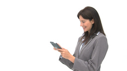 Smiling businesswoman using a computer tablet Footage