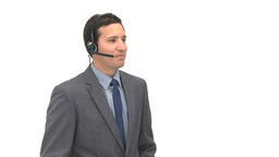 Businessman talking with headphones Footage