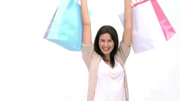 Happy woman with shopping bags Footage