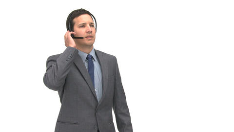 Angry man talking with headphones Stock Video Footage