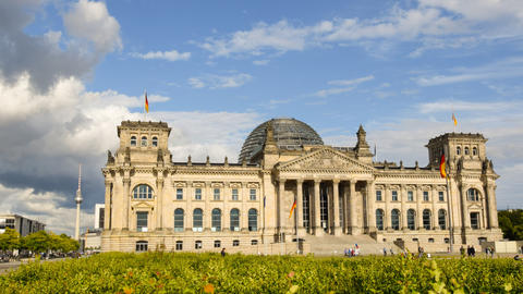 4k UHD Berlin German Bundestag Time Lapse Pan 1143 stock footage