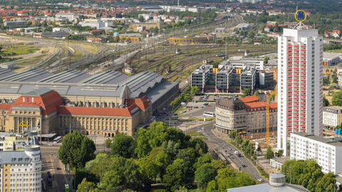 Aerial Leipzig Germany Central Station Rail 11433 stock footage