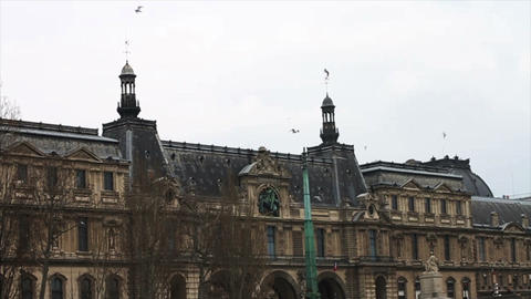 1512 Paris France Building and Birds Flying Footage