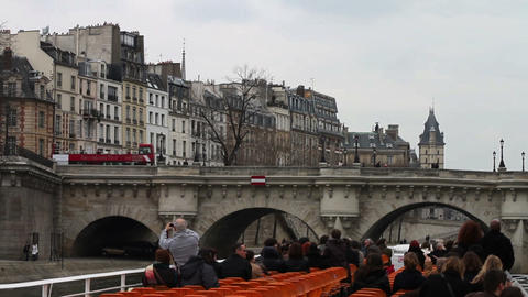 1516 Floating Down the River in Paris France Build Stock Video Footage