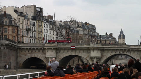 1516 Floating Down The River In Paris France Build stock footage