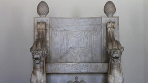1529 Ancient Historic Stone Chair In Paris France stock footage