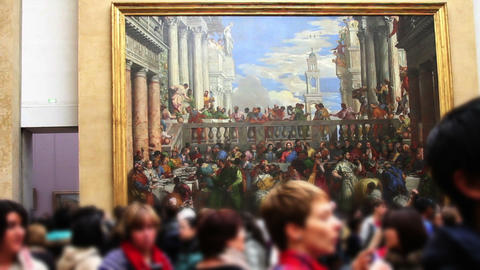 1531 Museum Artwork in Paris France Stock Video Footage