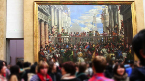 1531 Museum Artwork In Paris France stock footage
