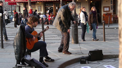 1542 Band Playing Music in Street in Paris France Stock Video Footage