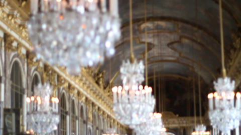 1550 Palace of Versailles Chandeliers in France Footage