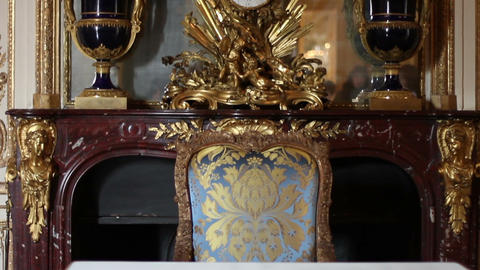 1553 Chair And Fire Place At Palace Of Versailles  stock footage