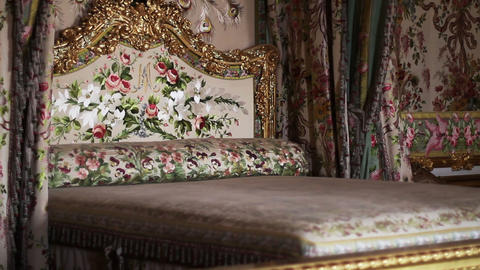 1554 Bed at Palace of Versailles in France Footage