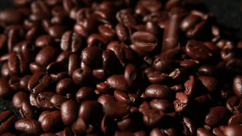 1570 Coffee Beans Falling in Slow Motion Footage