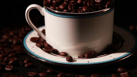 1575 Coffee Beans in Coffee Cup Footage