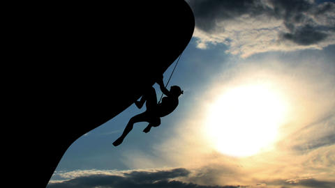 1602 Rock Climber Silhouette Animation, 4K Footage