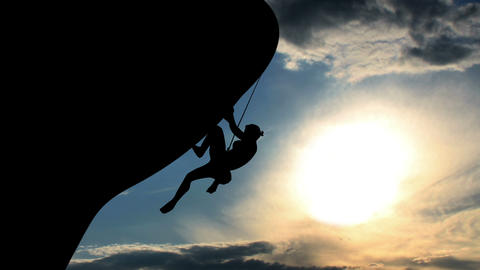 1602 Rock Climber Silhouette Animation, 4K Stock Video Footage