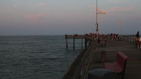 1610 Wooden Beach Pier People Walking and Fishing Footage